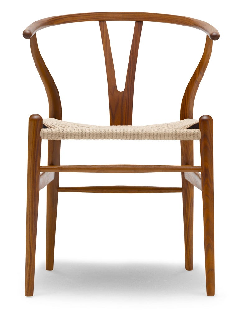 For Sale: Brown (Walnut Lacquer) CH24 Wishbone Chair in Wood Finishes with Natural Papercord Seat by Hans Wegner