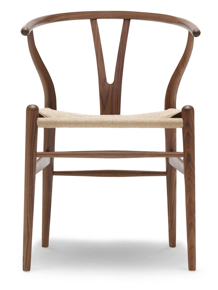 For Sale: Brown (Walnut Oil) CH24 Wishbone Chair in Wood Finishes with Natural Papercord Seat by Hans Wegner