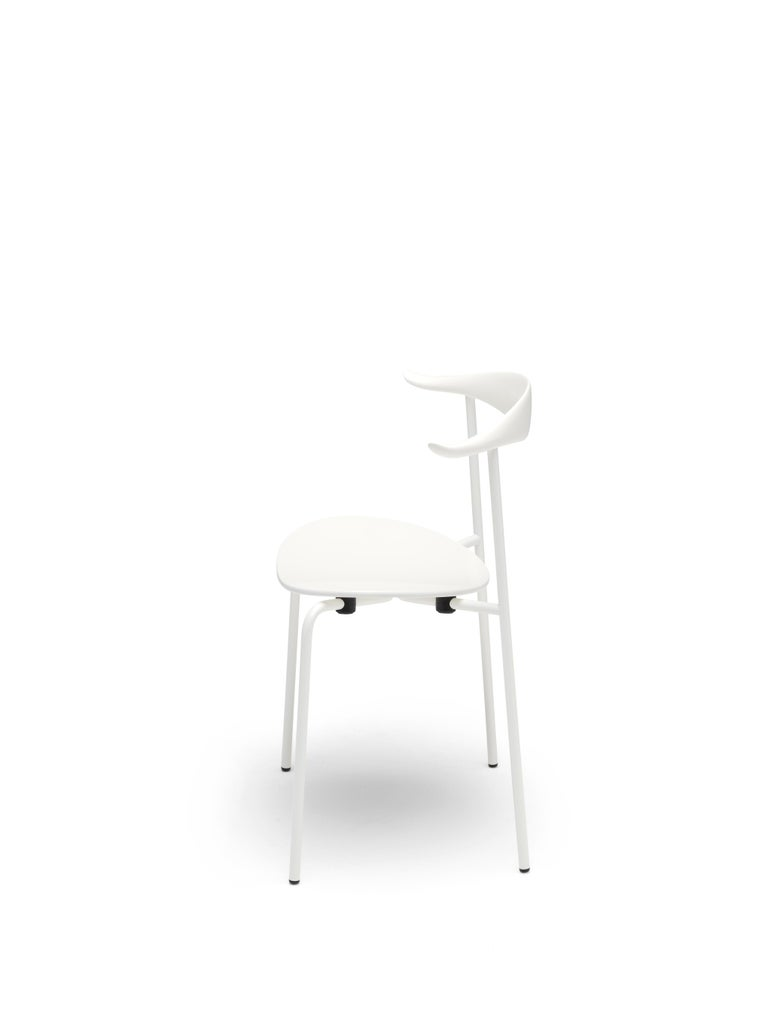 For Sale: Beige (NCS S0502-Y) CH88T Dining Chair in Wood with White Powder-Coat Steel Base by Hans J. Wegner 3