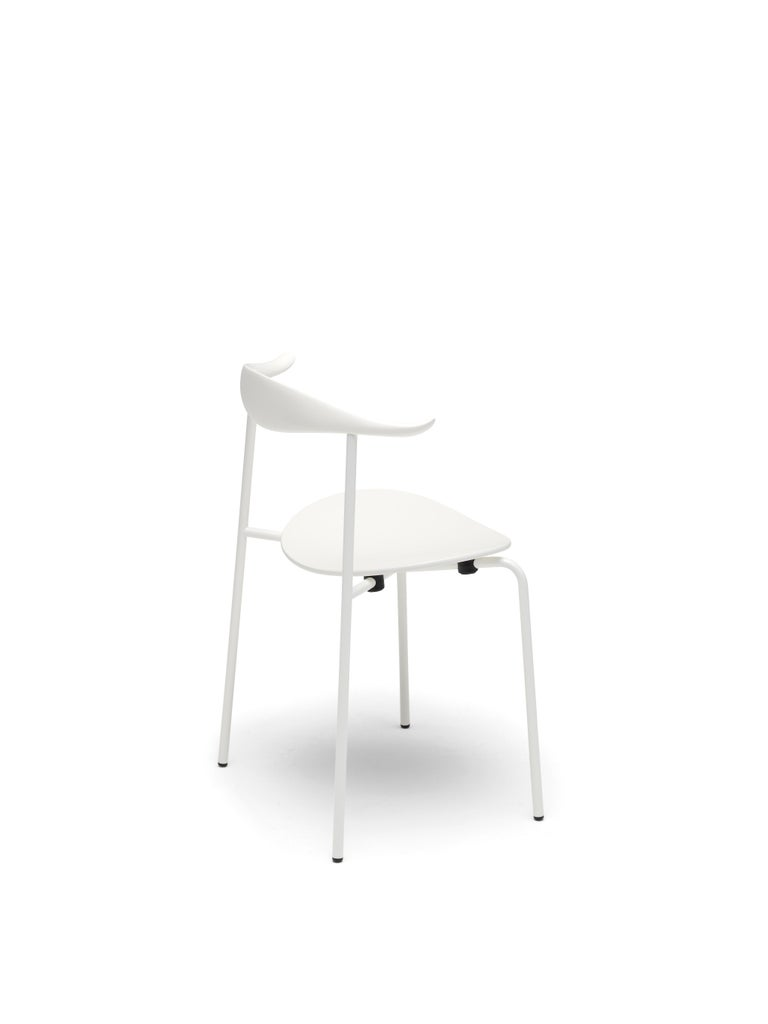For Sale: Beige (NCS S0502-Y) CH88T Dining Chair in Wood with White Powder-Coat Steel Base by Hans J. Wegner 2