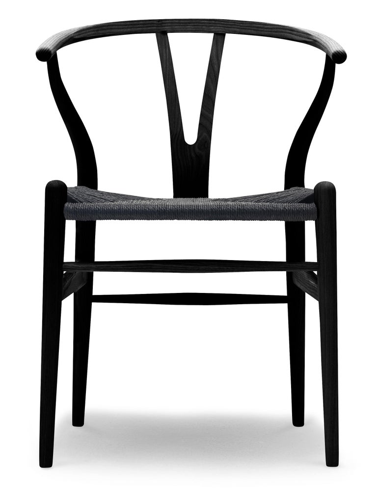 For Sale: Black (Ash Paintedblack S9000N) CH24 Wishbone Chair in Wood Finishes with Black Papercord Seat by Hans J. Wegner