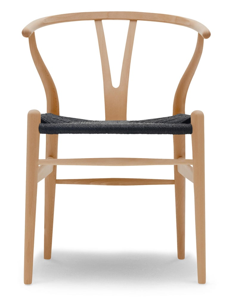 For Sale: Brown (Beech Lacquer) CH24 Wishbone Chair in Wood Finishes with Black Papercord Seat by Hans J. Wegner