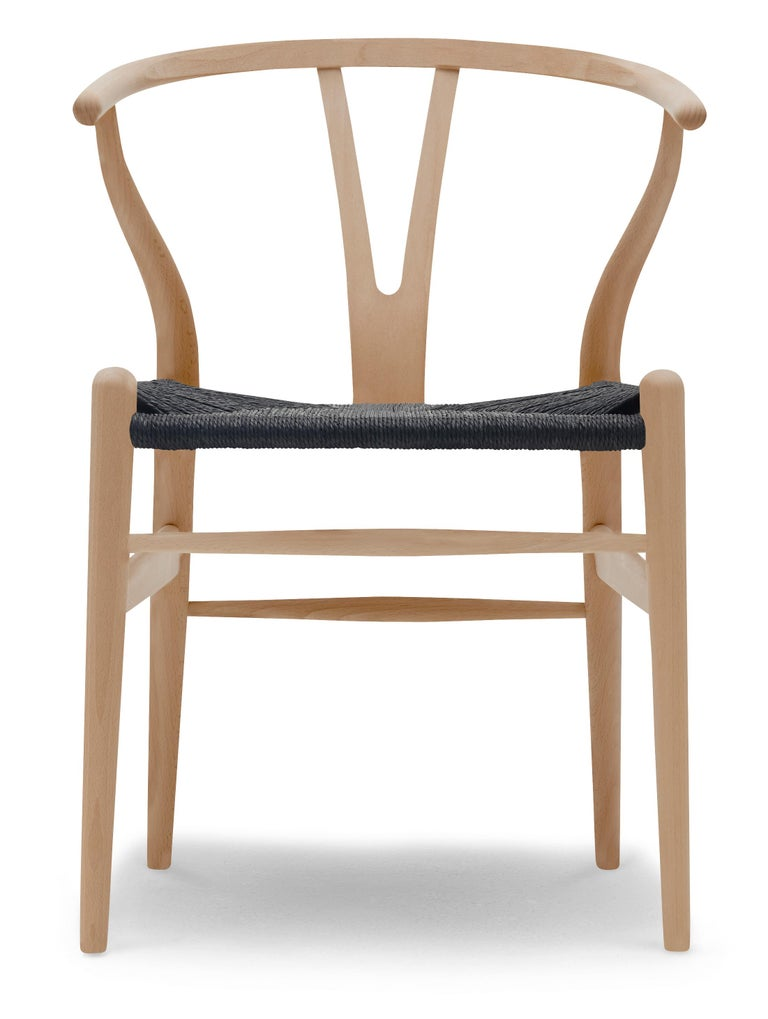 For Sale: Brown (Beech Oil) CH24 Wishbone Chair in Wood Finishes with Black Papercord Seat by Hans J. Wegner