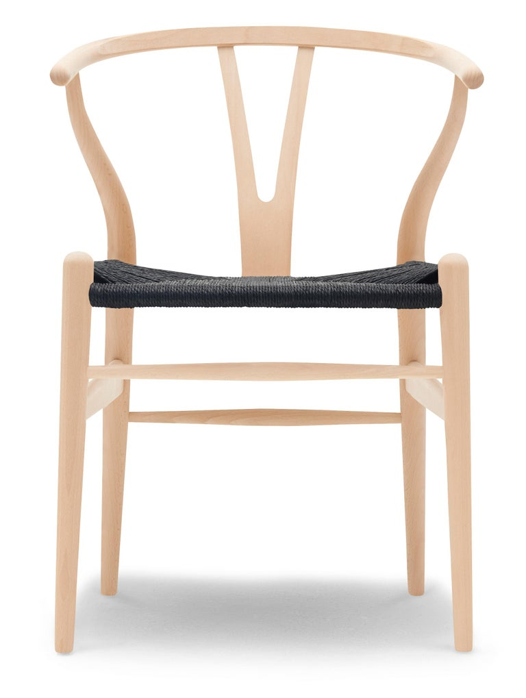 For Sale: Beige (Beech Soap) CH24 Wishbone Chair in Wood Finishes with Black Papercord Seat by Hans J. Wegner