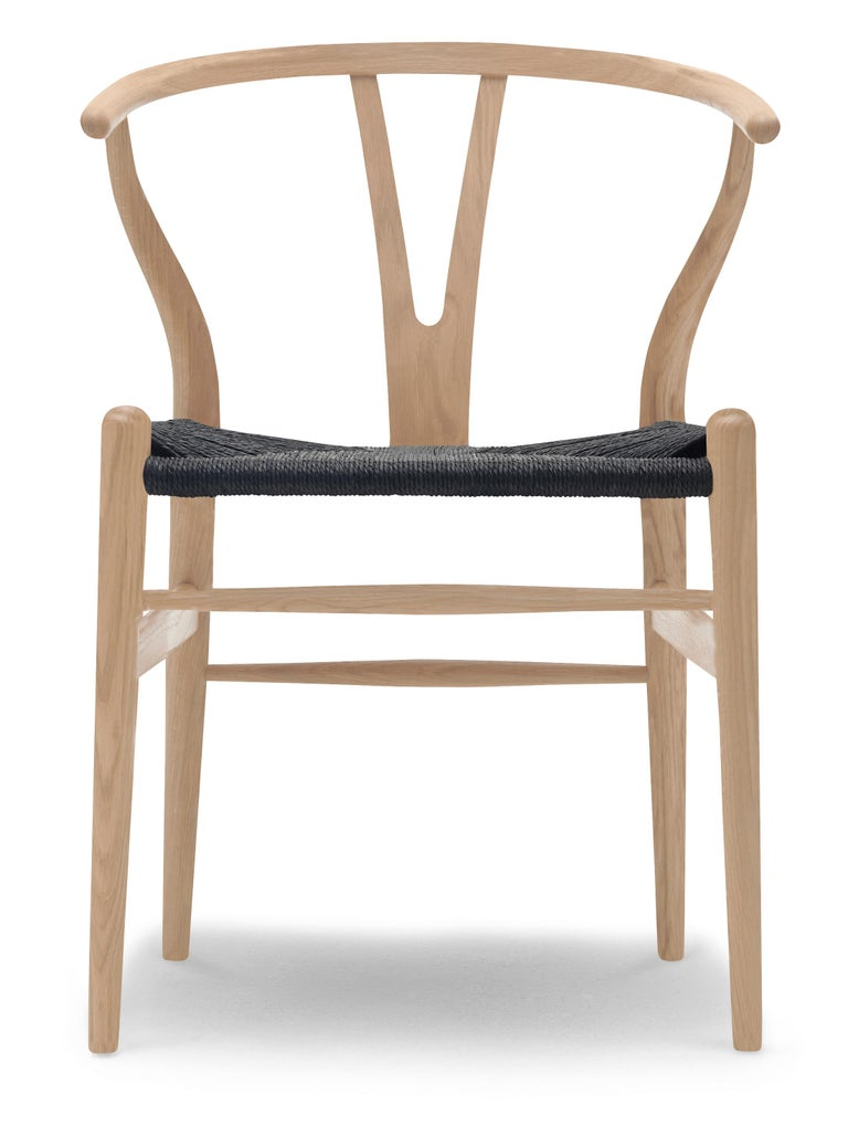 For Sale: Beige (Oak White Oil) CH24 Wishbone Chair in Wood Finishes with Black Papercord Seat by Hans J. Wegner