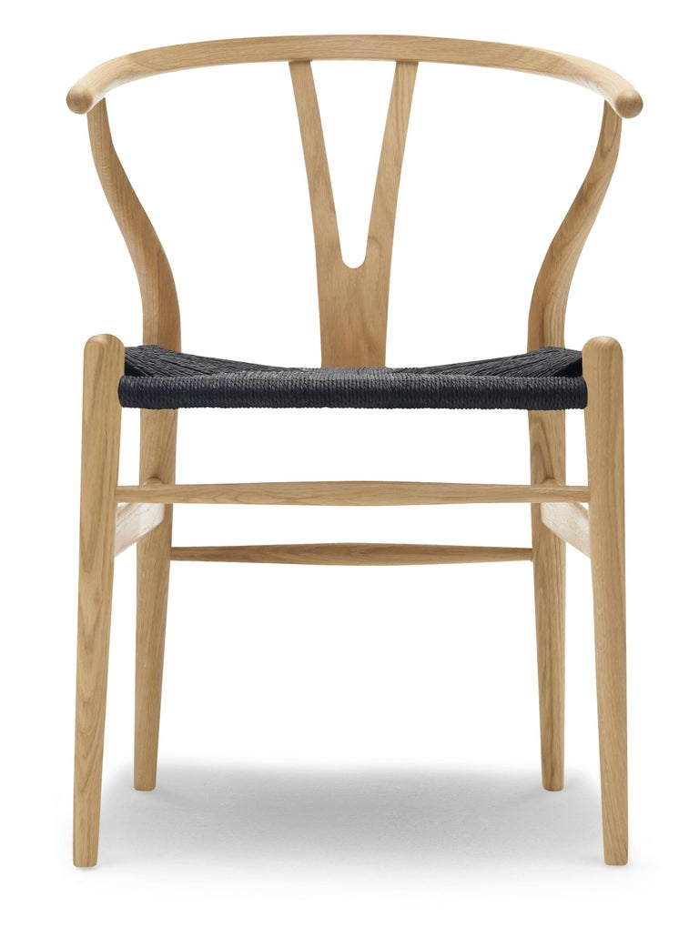 For Sale: Brown (Oak Lacquer) CH24 Wishbone Chair in Wood Finishes with Black Papercord Seat by Hans J. Wegner