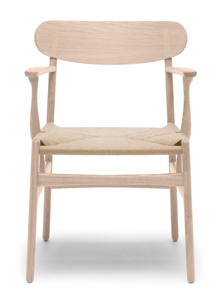 For Sale: Brown (Oak Soap) CH26 Dining Chair in Wood Finishes with Natural Papercord Seat by Hans J. Wegner