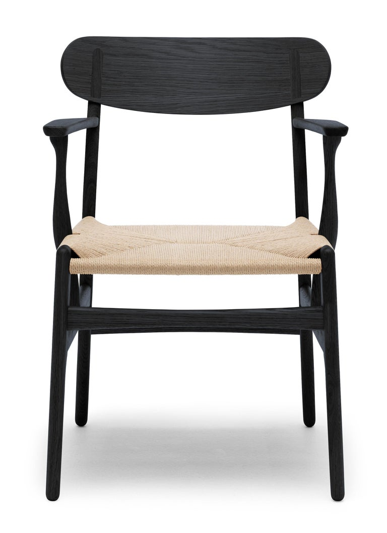 For Sale: Black (Oak Painted blacks9000-N) CH26 Dining Chair in Wood Finishes with Natural Papercord Seat by Hans J. Wegner