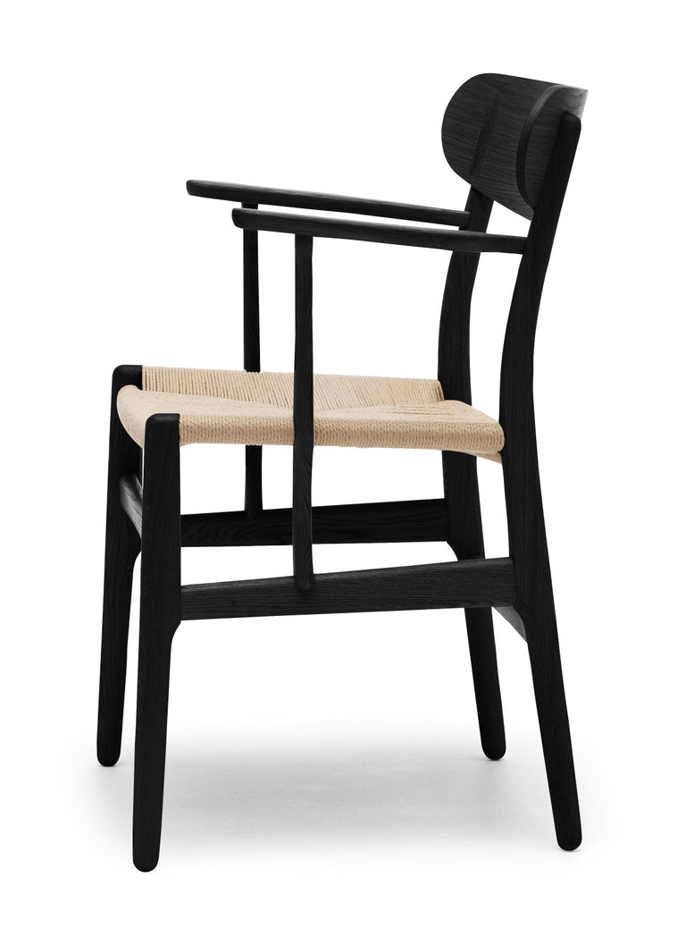 For Sale: Black (Oak Painted blacks9000-N) CH26 Dining Chair in Wood Finishes with Natural Papercord Seat by Hans J. Wegner 2