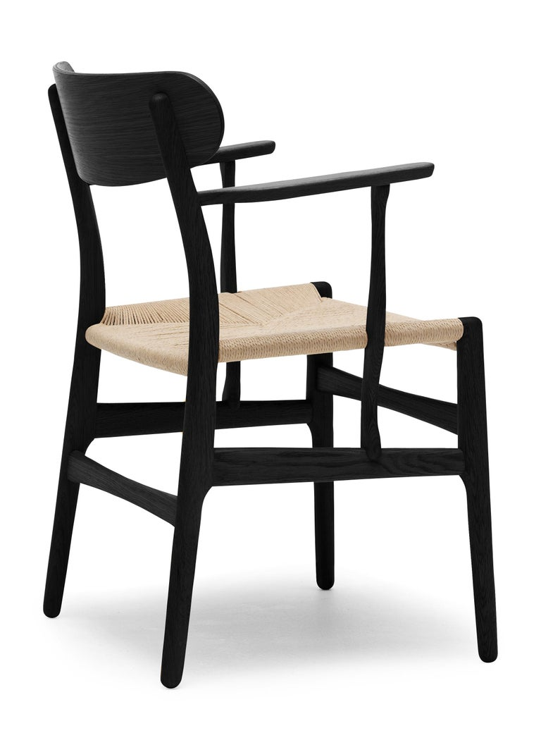 For Sale: Black (Oak Painted blacks9000-N) CH26 Dining Chair in Wood Finishes with Natural Papercord Seat by Hans J. Wegner 3