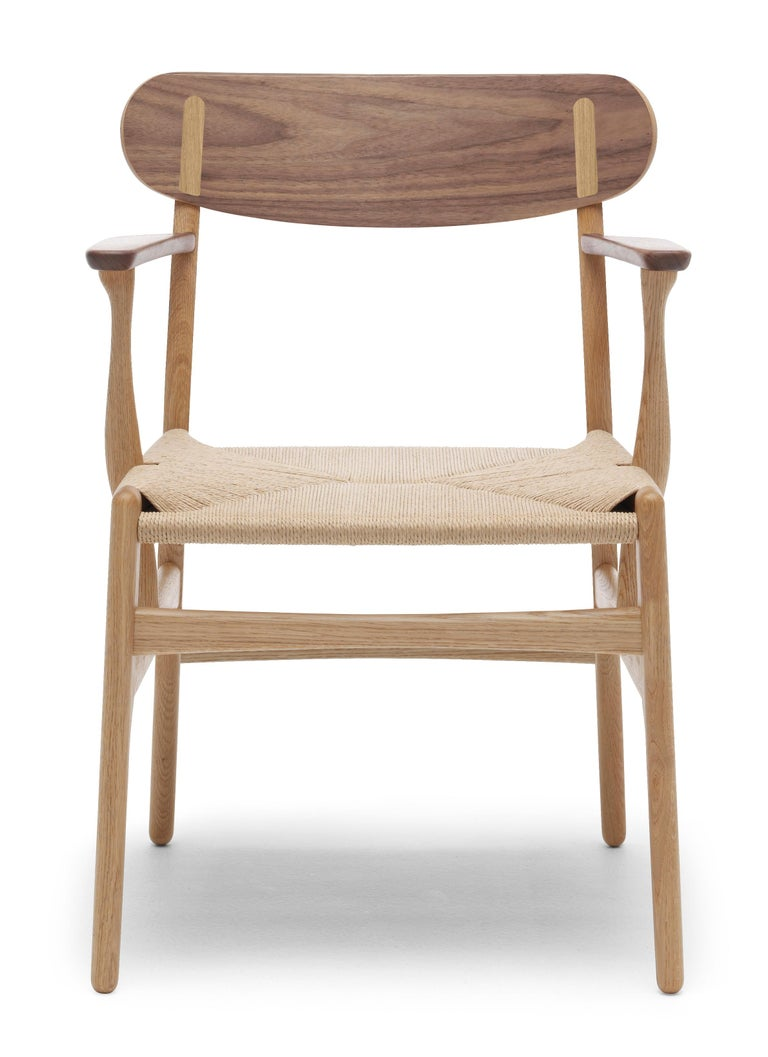 For Sale: Brown (Oak/Walnut) CH26 Dining Chair in Wood Finishes with Natural Papercord Seat by Hans J. Wegner