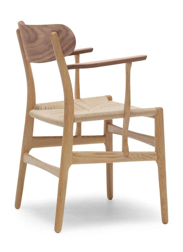 For Sale: Brown (Oak/Walnut) CH26 Dining Chair in Wood Finishes with Natural Papercord Seat by Hans J. Wegner 3
