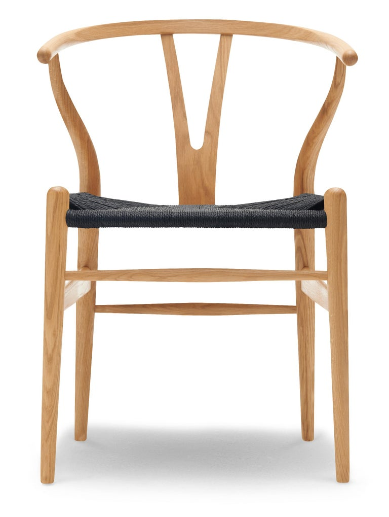 For Sale: Brown (Oak Oil) CH24 Wishbone Chair in Wood Finishes with Black Papercord Seat by Hans J. Wegner