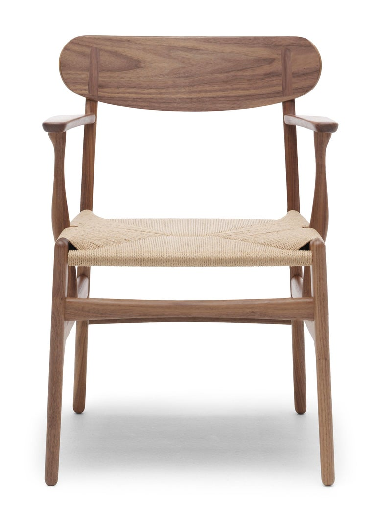 For Sale: Brown (Walnut Oil) CH26 Dining Chair in Wood Finishes with Natural Papercord Seat by Hans J. Wegner