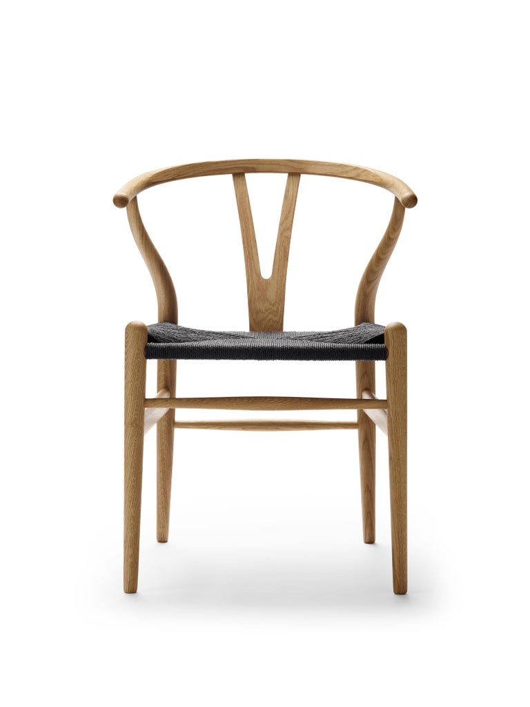 For Sale: Brown (Oak Oil) CH24 Wishbone Chair in Wood Finishes with Black Papercord Seat by Hans J. Wegner 2