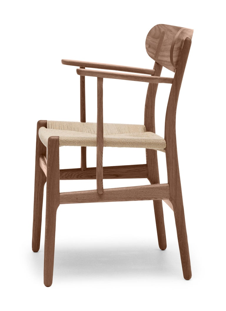 For Sale: Brown (Walnut Oil) CH26 Dining Chair in Wood Finishes with Natural Papercord Seat by Hans J. Wegner 2