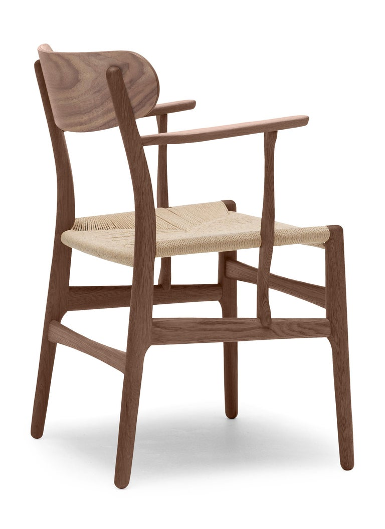 For Sale: Brown (Walnut Oil) CH26 Dining Chair in Wood Finishes with Natural Papercord Seat by Hans J. Wegner 3