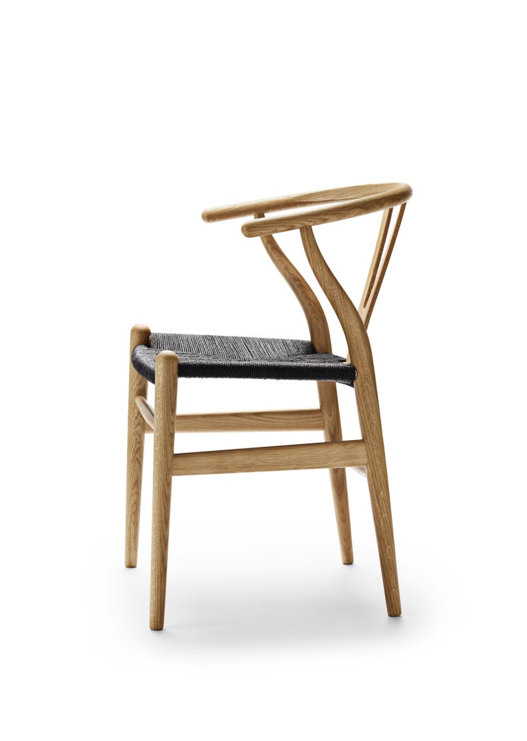For Sale: Brown (Oak Oil) CH24 Wishbone Chair in Wood Finishes with Black Papercord Seat by Hans J. Wegner 3