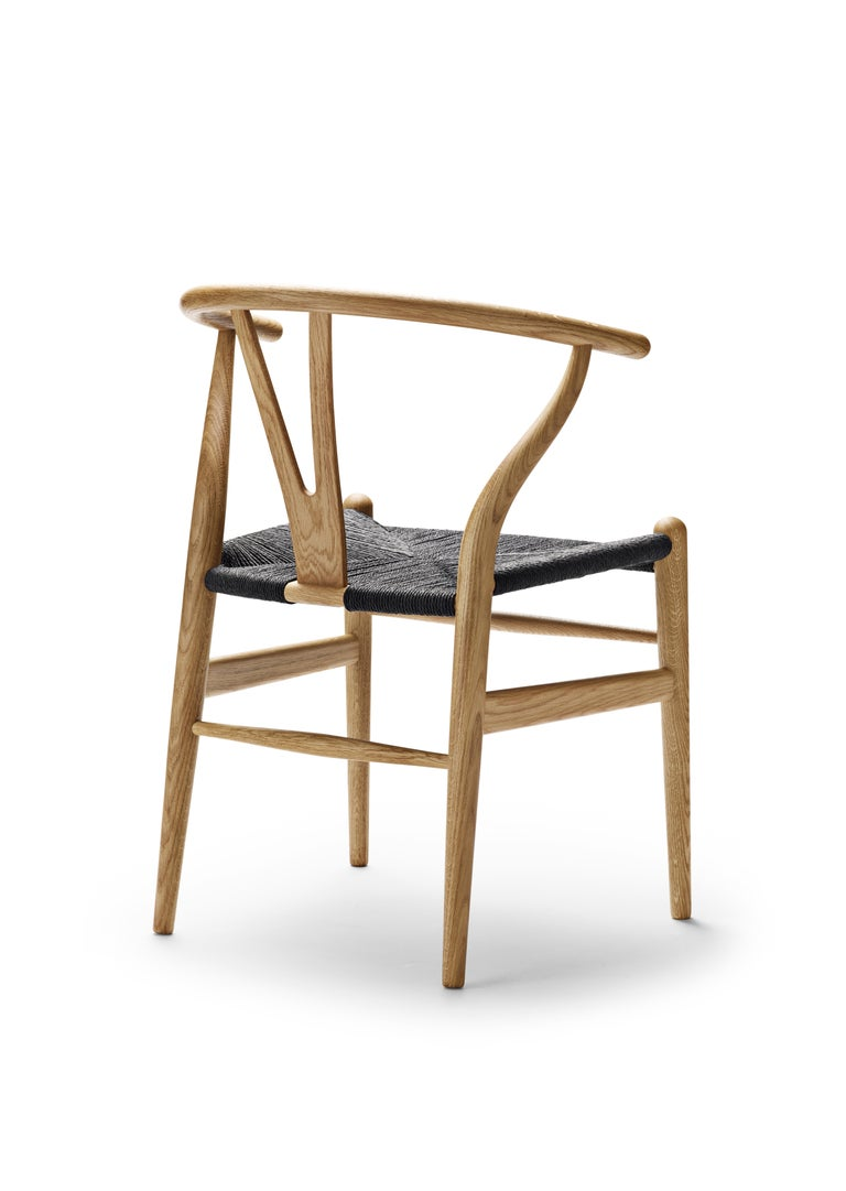 For Sale: Brown (Oak Oil) CH24 Wishbone Chair in Wood Finishes with Black Papercord Seat by Hans J. Wegner 4