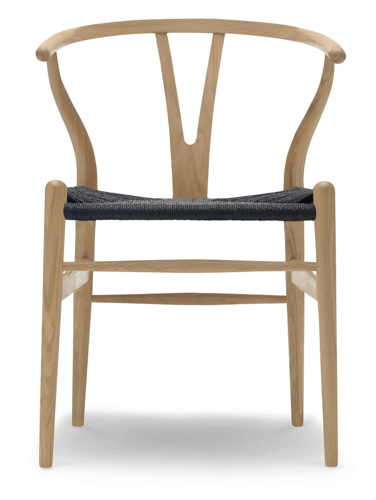 For Sale: Brown (Oak Soap) CH24 Wishbone Chair in Wood Finishes with Black Papercord Seat by Hans J. Wegner