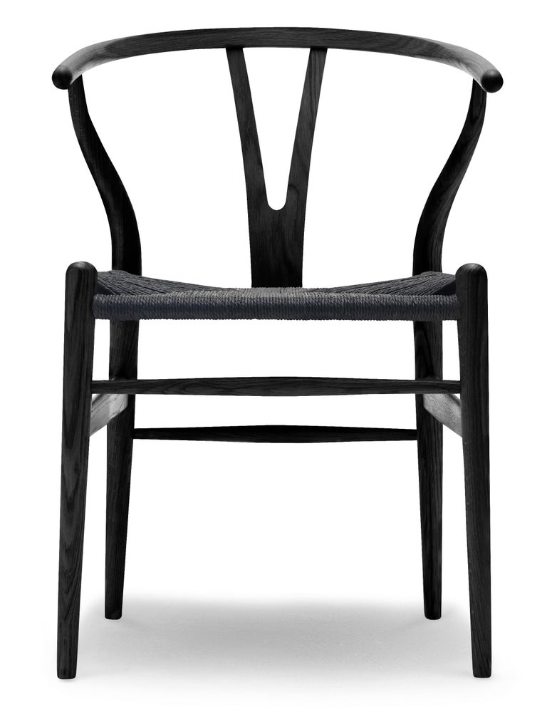 For Sale: Black (Oak Painted blacks9000-N) CH24 Wishbone Chair in Wood Finishes with Black Papercord Seat by Hans J. Wegner
