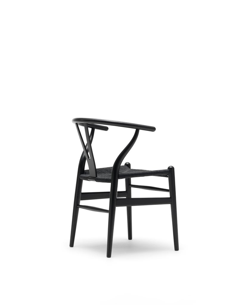 For Sale: Black (Oak Painted blacks9000-N) CH24 Wishbone Chair in Wood Finishes with Black Papercord Seat by Hans J. Wegner 2