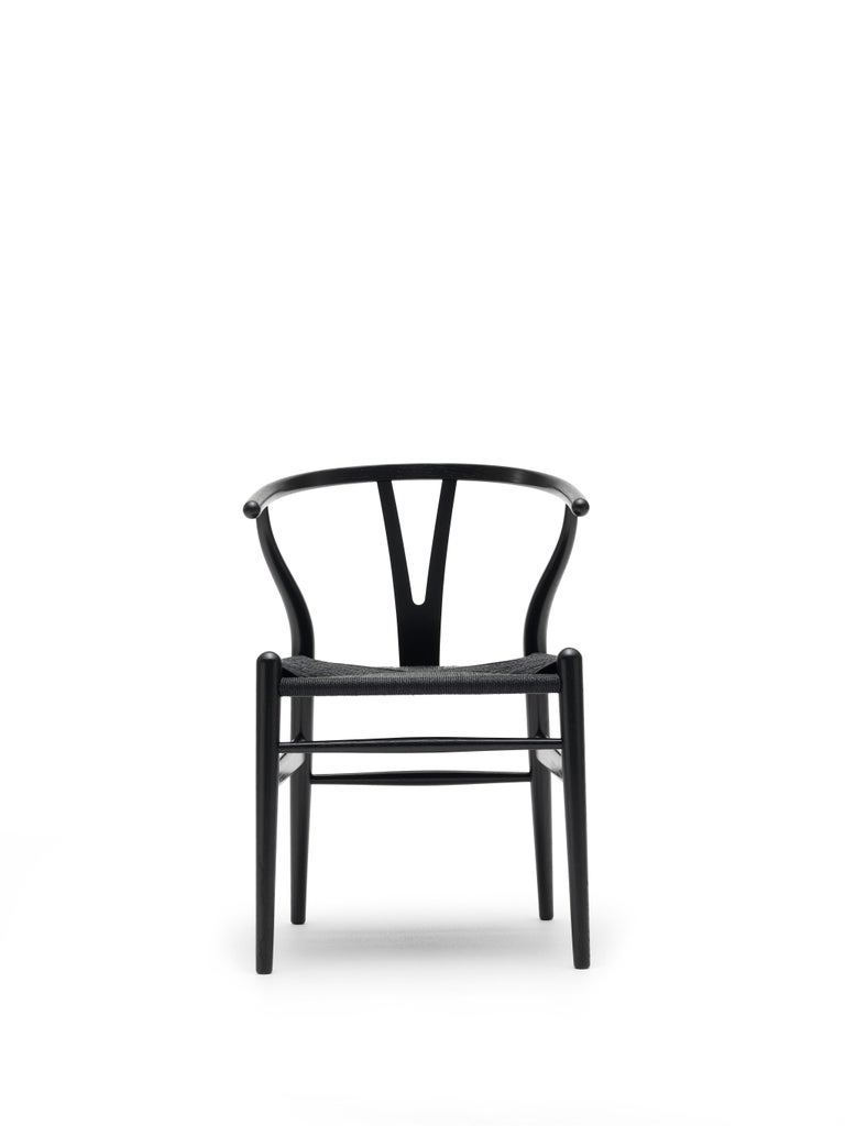 For Sale: Black (Oak Painted blacks9000-N) CH24 Wishbone Chair in Wood Finishes with Black Papercord Seat by Hans J. Wegner 3