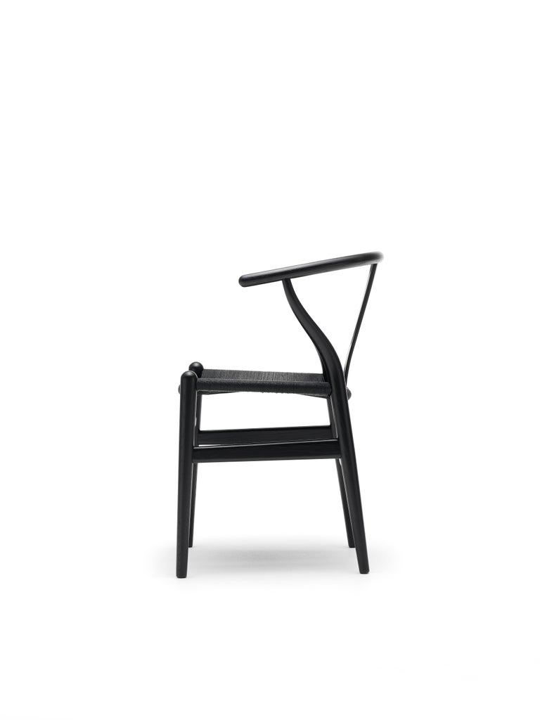 For Sale: Black (Oak Painted blacks9000-N) CH24 Wishbone Chair in Wood Finishes with Black Papercord Seat by Hans J. Wegner 4