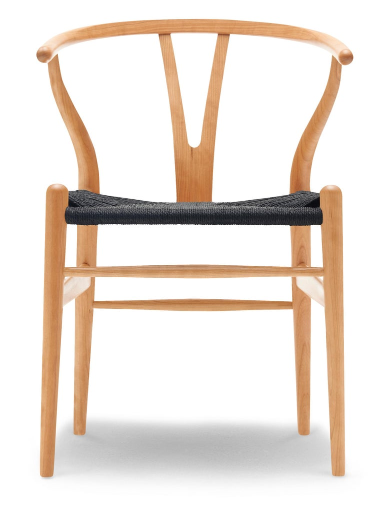 For Sale: Brown (Cherry Oil) CH24 Wishbone Chair in Wood Finishes with Black Papercord Seat by Hans J. Wegner