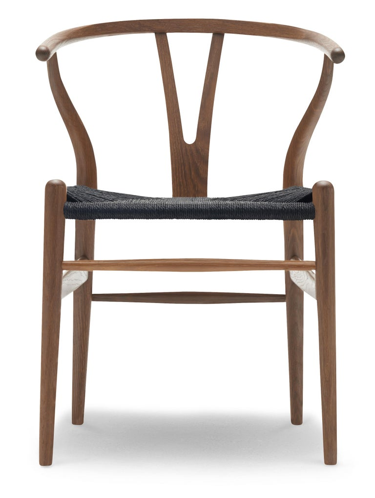 For Sale: Brown (Oak Smoked Oil) CH24 Wishbone Chair in Wood Finishes with Black Papercord Seat by Hans J. Wegner
