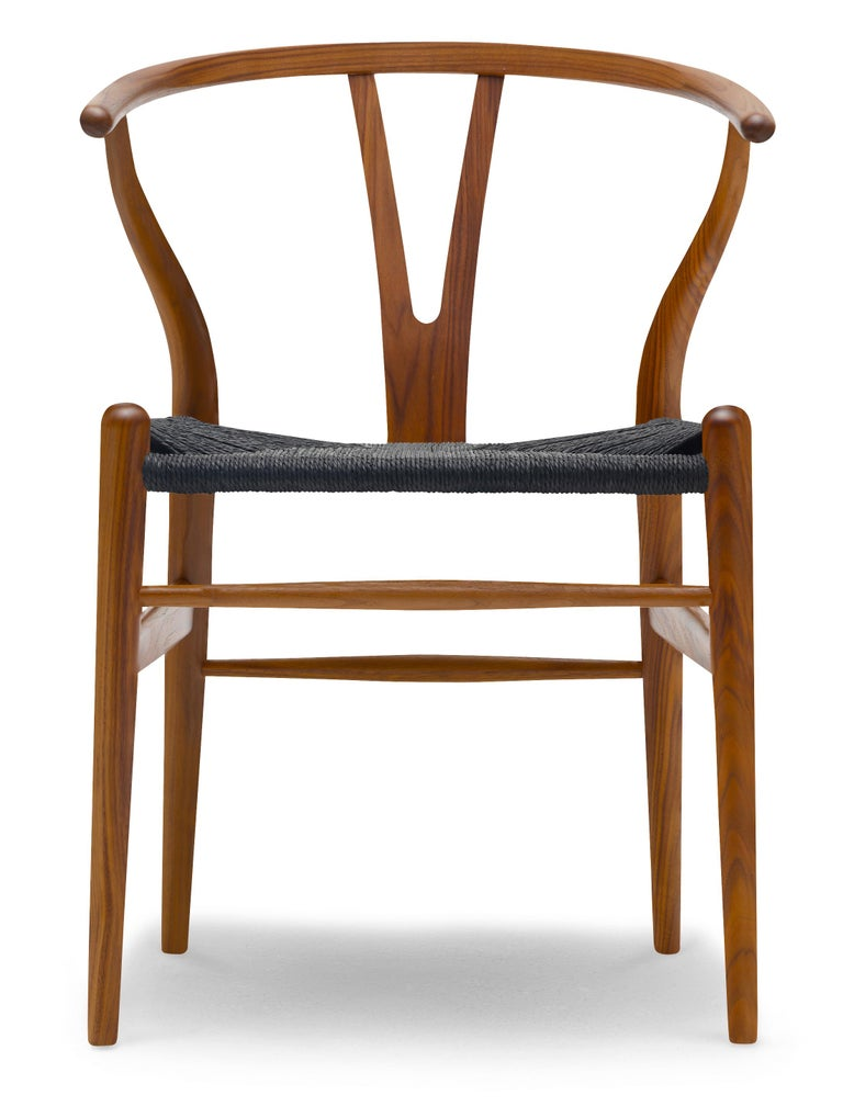 For Sale: Brown (Walnut Lacquer) CH24 Wishbone Chair in Wood Finishes with Black Papercord Seat by Hans J. Wegner