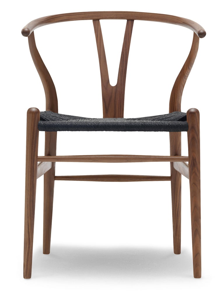 For Sale: Brown (Walnut Oil) CH24 Wishbone Chair in Wood Finishes with Black Papercord Seat by Hans J. Wegner