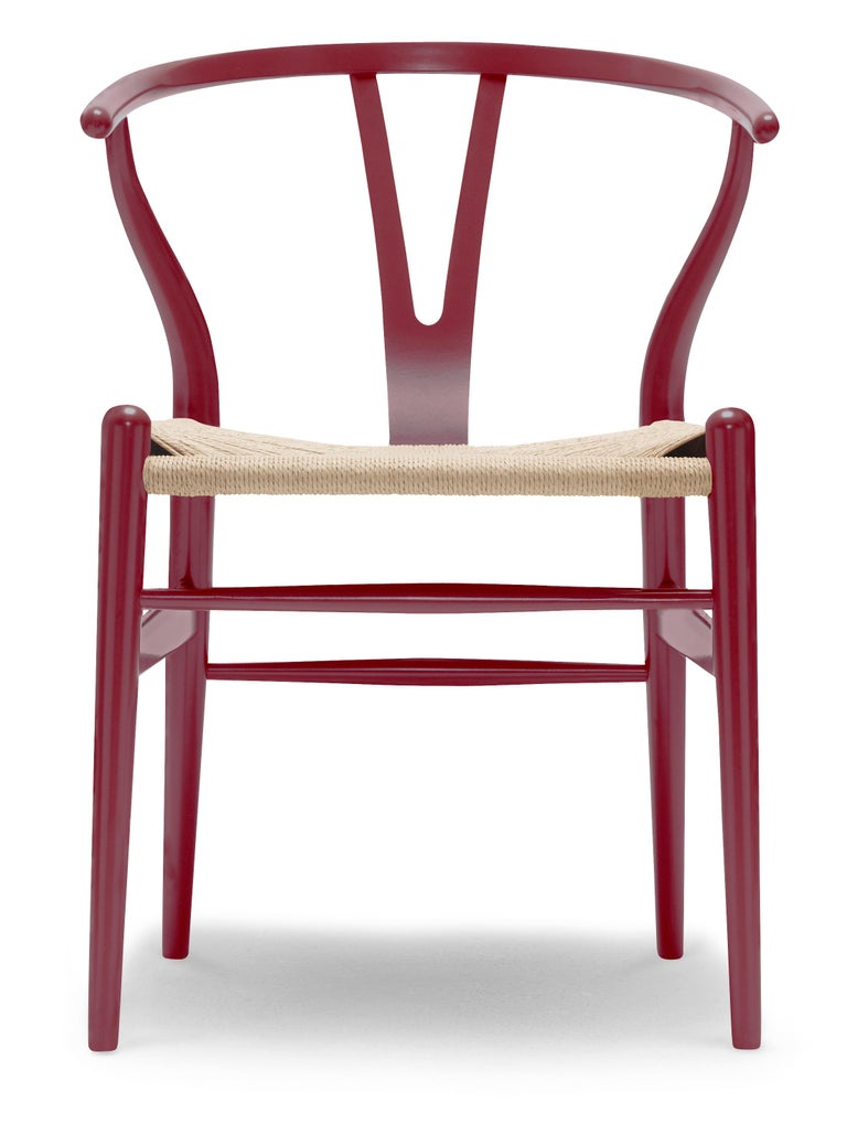For Sale: Red (NCS S4050-R10B) CH24 Wishbone Chair in Color Finishes with Natural Papercord Seat by Hans Wegner