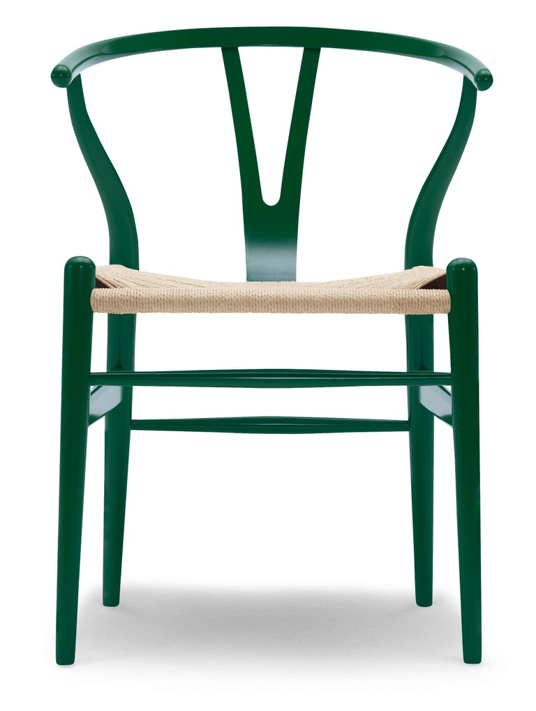 For Sale: Green (NCS S6030-B90G) CH24 Wishbone Chair in Color Finishes with Natural Papercord Seat by Hans Wegner