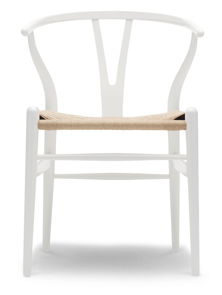 For Sale: Beige (NCS S0502-Y) CH24 Wishbone Chair in Color Finishes with Natural Papercord Seat by Hans Wegner