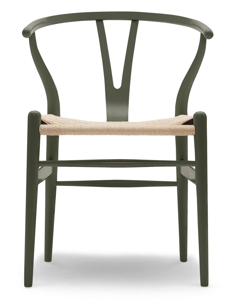 For Sale: Green (NCS S6020-G50Y) CH24 Wishbone Chair in Color Finishes with Natural Papercord Seat by Hans Wegner