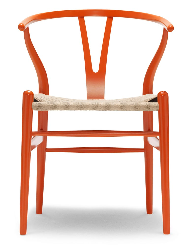 For Sale: Orange (NCS S2075-Y70R) CH24 Wishbone Chair in Color Finishes with Natural Papercord Seat by Hans Wegner