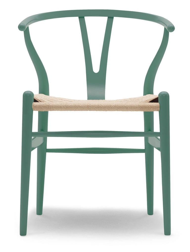 For Sale: Green (NCS S6020-B50G) CH24 Wishbone Chair in Color Finishes with Natural Papercord Seat by Hans Wegner