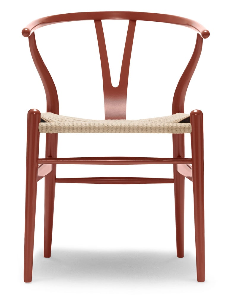 For Sale: Red (NCS S4550-Y80R) CH24 Wishbone Chair in Color Finishes with Natural Papercord Seat by Hans Wegner