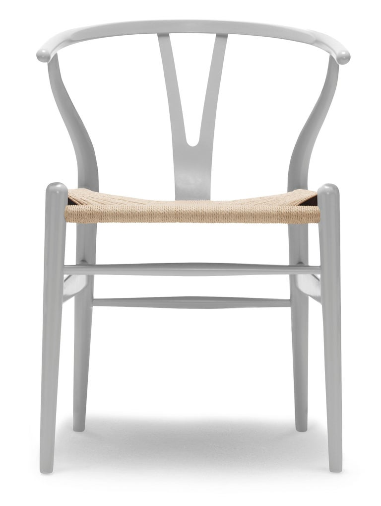 For Sale: Gray (NCS S3502-Y) CH24 Wishbone Chair in Color Finishes with Natural Papercord Seat by Hans Wegner