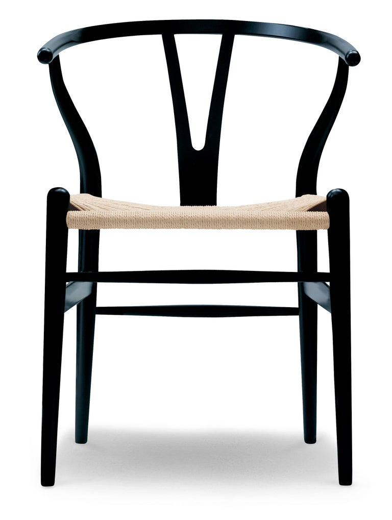 For Sale: Black (NCS S9000-N) CH24 Wishbone Chair in Color Finishes with Natural Papercord Seat by Hans Wegner