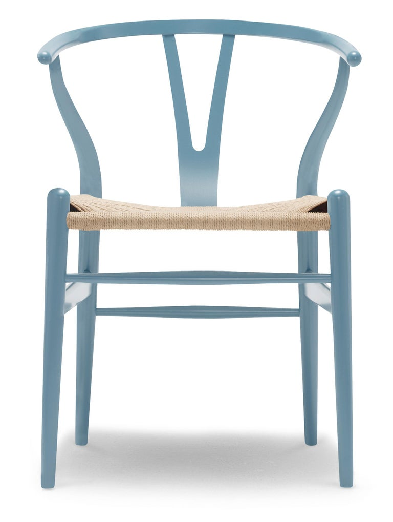For Sale: Blue (NCS S3030-B) CH24 Wishbone Chair in Color Finishes with Natural Papercord Seat by Hans Wegner
