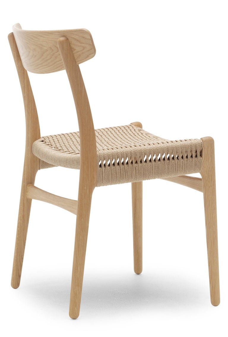 For Sale: Brown (Oak Oil) CH23 Dining Chair in Wood Finishes with Natural Papercord Seat by Hans J. Wegner 2