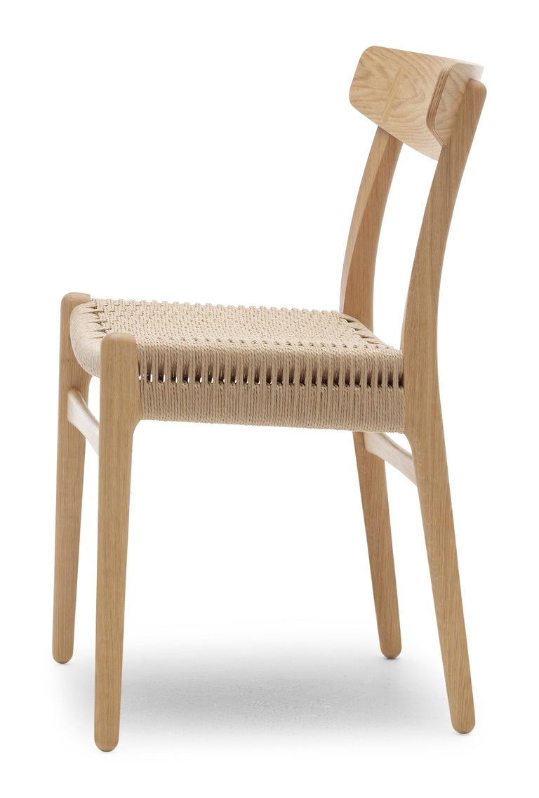 For Sale: Brown (Oak Oil) CH23 Dining Chair in Wood Finishes with Natural Papercord Seat by Hans J. Wegner 3