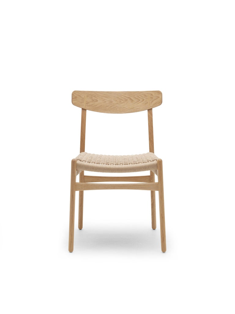 For Sale: Brown (Oak Oil) CH23 Dining Chair in Wood Finishes with Natural Papercord Seat by Hans J. Wegner 5