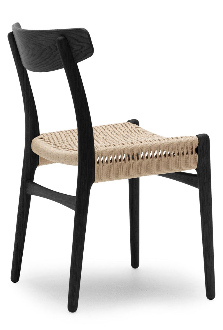 For Sale: Black (Oak Painted blacks9000-N) CH23 Dining Chair in Wood Finishes with Natural Papercord Seat by Hans J. Wegner 2