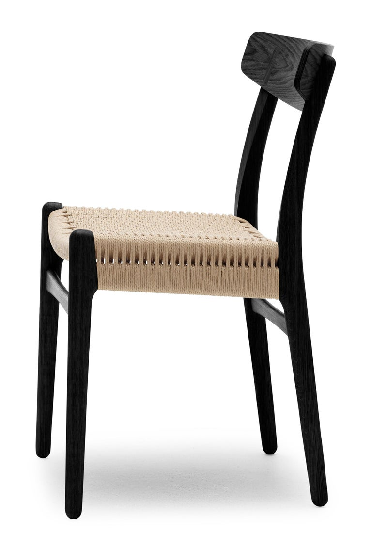 For Sale: Black (Oak Painted blacks9000-N) CH23 Dining Chair in Wood Finishes with Natural Papercord Seat by Hans J. Wegner 3