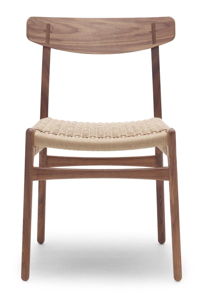 For Sale: Brown (Walnut Oil) CH23 Dining Chair in Wood Finishes with Natural Papercord Seat by Hans J. Wegner