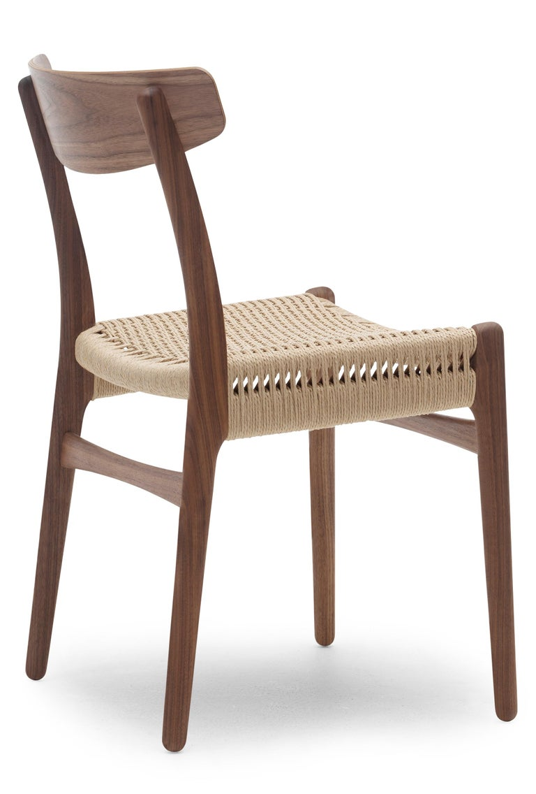 For Sale: Brown (Walnut Oil) CH23 Dining Chair in Wood Finishes with Natural Papercord Seat by Hans J. Wegner 2