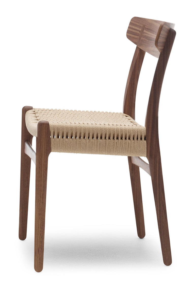 For Sale: Brown (Walnut Oil) CH23 Dining Chair in Wood Finishes with Natural Papercord Seat by Hans J. Wegner 3
